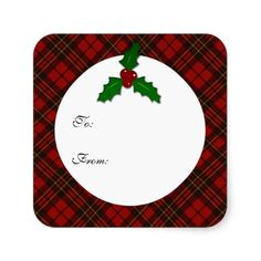 SOLD several! Thank you! Adorable Red Christmas tartan Holly twig Gift Tag Square Stickers by #PLdesign #TartanGift #ChristmasGift
