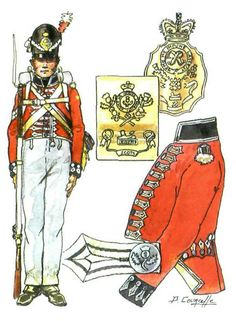 British; 1st Regiment of Foot(Royal Scots), c.1815 by P.Courcelle. This copy of the painting has made the facings too dark, almost black rather than a dark blue. The regiment was increased to 4 battalions during the Napoleonic Wars. 3rd Battalion served at Waterloo.