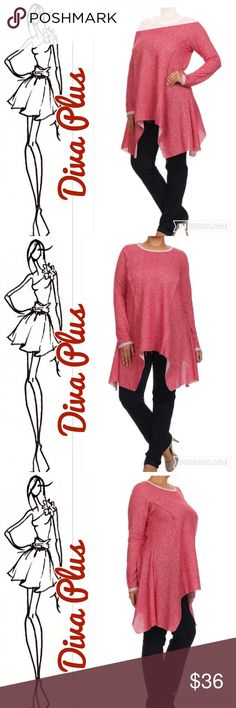 Sneak Peek..Diva Plus Cranapple Asymmetrical Top Diva Plus Cranapple Asymmetrical Top. Top had asymmetrical sides & rounded neckline. Has long sleeves & is tweedy like material. Neckline & end of sleeves trimmed in lighter color. Comes past hips. Cosb Tops
