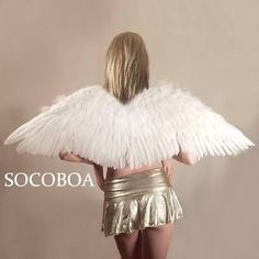 "Big Large White Feather Angel Wings Halloween 45x16"" Costume Cosplay - Brought to you by Avarsha.com"