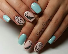 Having short nails is extremely practical. The problem is so many nail art and manicure designs that you'll find online Elegant Nails, Stylish Nails, Cute Nails, Pretty Nails, Bohemian Nails, Dream Catcher Nails, Country Nails, Feather Nails, Mandala Nails