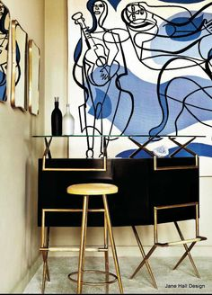 Mid Century Modern living room with Cornflower and Cobalt Blue artwork and Expresso Brown furniture. Mid Century Modern Living Room, Mid Century Modern Furniture, Mid Century Modern Design, Mid Century Style, Colour Architecture, Modern Architecture, Brown Furniture, Funky Furniture, Interior Decorating