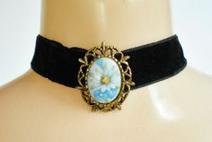 Flower Cameo Choker Necklace Blue Flowers by PrettyShinyThings4U