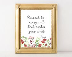 Rumi quote, printable, wall art, inspirational, typography, home decor, instant download, Respond to every call that excites your spirit by AdornMyWall on Etsy