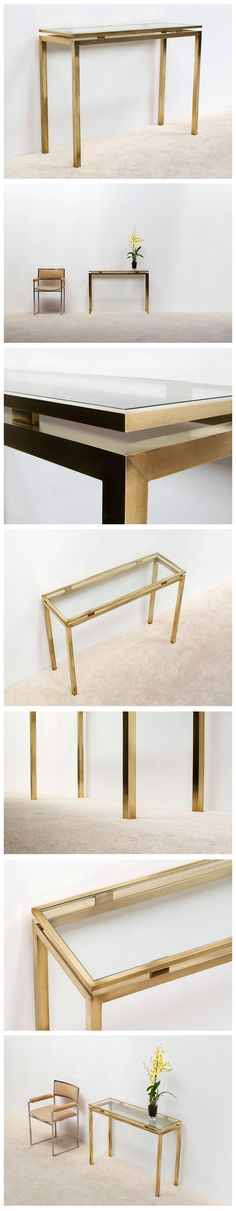 Guy Lefevre brass console table Maison Jansen | 20th century Modern online gallery. Featuring a large and varied selection of quality vintage pieces | Shipping worldwide | http://www.furniture-love.com/browse.php