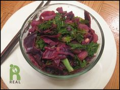 Kale, Red Cabbage, Daikon, Ginger Stir Fry