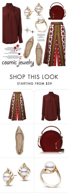 """""""Cosmic Jewelry"""" by pearlparadise ❤ liked on Polyvore featuring Valentino, Chloé, Shoes of Prey, Bertoni, StyleNanda, contestentry, pearljewelry, pearlparadise and cosmicjewelry"""