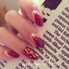 red and gold  nail art