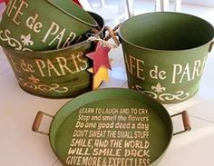 Balkon – home accessories Good Deeds, Watering Can, Fun To Be One, Coffee Cans, Painting On Wood, Home Crafts, Home Accessories, Farmhouse Decor, Decoupage