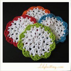 PATTERN – Crocheted Round Dishcloth/Washcloth Coaster — Dishcloth 49 « Lilyknitting – Patterns and Crochet