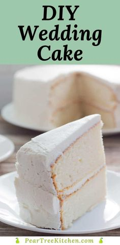 White Wedding Cake - Delicious white cake with white buttercream icing. Tastes like an old-fashioned white wedding cake. Perfect recipe for those who want to make their own cakes! #recipes Cake Mix Desserts, Cake Mix Recipes, Delicious Desserts, Sweets Recipes, Cake Frosting Recipe, Frosting Recipes, Almond Wedding Cakes, White Wedding Cake Icing, Wedding Cake Frosting