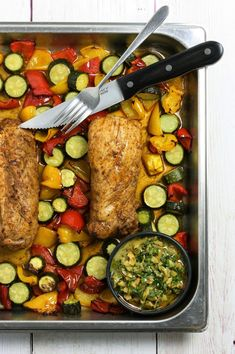 A 20 minute dinner straight from your combi steam oven: juicy pork tenderloin with courgettes and peppers, served with a vibrant green olive and caper salsa. Pork Tenderloin Oven, Pork Fillet, Entree Recipes, Oven Recipes, Yummy Recipes, Green Olive Salsa, Healthy Pork Tenderloin Recipes, Combi Oven, Steam Recipes