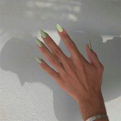 Natural Acrylic Nails, Summer Acrylic Nails, Best Acrylic Nails, Acrylic Nails Green, Pastel Color Nails, Mint Green Nails, One Color Nails, Simple Acrylic Nails, Colorful Nails