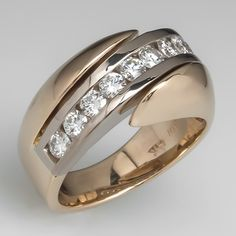 Two-Tone-Wide Band Diamond Bypass Ring 14K Gold -