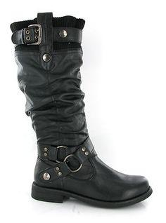 Womens Soft Sock Top Tall Black Fashion Mid Calf Biker Boots Size 3 9 UK | eBay