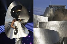 Lady Gaga accepting the award for Best Female at the EMAs 2011 wearing Paco Rabanne | The Guggenheim Museum in Bilbao, Spain