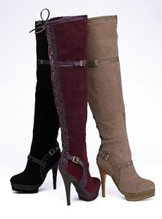 Red knee high boots