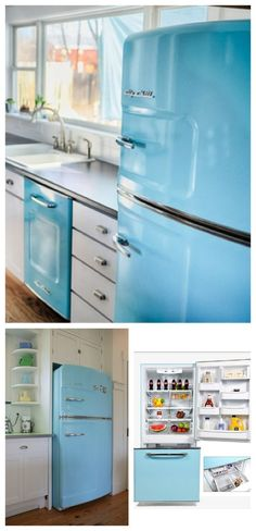 Retro Refrigerators with a plash of color. If you're planning you're dream kitchen then make sure you include a beach blue vintage fridge. #BigChill #Retro