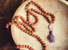 Amethyst & Rudraksha Mala Beads for Healing and Calmness