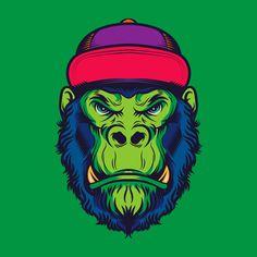 premium selection 15fe1 6181f Hipster Gorilla Head Old School Tattoo Illustration