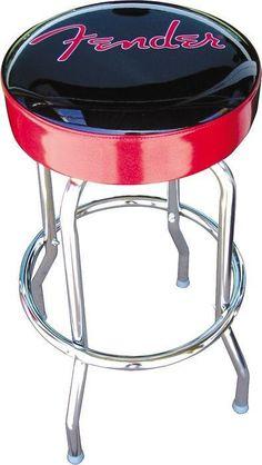 Fender chrome bar stool ( 24 inch with red logo ) 099 0205 002 Black Bar Stools, 30 Bar Stools, Counter Stools, Fendi, Classic Bar, Guitar Room, Guitar Girl, Tubular Steel, Red Logo