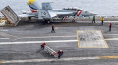 """PACIFIC OCEAN – (Nov. 8, 2017) – An F/A-18F Super Hornet from the """"Bounty Hunters"""" of VFA-2 prepares to launch from the Nimitz-class aircraft carrier USS Carl Vinson (CVN 70) in a sustainment training exercise in preparation for an upcoming deployment. (U.S. Navy photo by Mass Communication Specialist 3rd Class Jake Kannada/Released)"""
