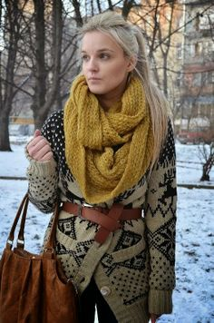 cozy oversized belted cardigan with mustard scarf.