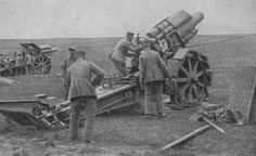"bmashina: ""German artillery with howitzers of 21 cm Morser M10. """