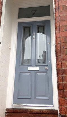 Traditional wooden Grand Victorian front door with 'Colourfilm Leaded' glazing Traditional wooden Grand Victorian front door with 'Colourfilm Leaded' glazing ideen Front Door Porch, Wood Front Doors, Front Door Entrance, Front Door Decor, House Front, Barn Doors, Grey Doors, Doorway, Entry Doors