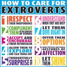 How to care for extroverts. Even though I am their opposite, I am immediately inclined to like extroverts. They make me happy, and they make me laugh as I wonder how on earth somebody can be so extroverted. :D