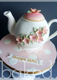 Tea & Cake anyone? My first teapot cake with flower decorations. Pretty Cakes, Beautiful Cakes, Amazing Cakes, Cupcakes, Cupcake Cakes, Unique Cakes, Creative Cakes, Cake Pops, Teapot Cake