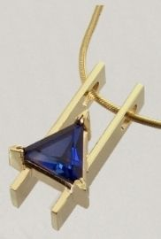 14kt yellow gold design with triangle Sapphire (created) approximate weight 2.0 carats