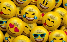 Download wallpapers candy emoticons, sweets, emotions, yellow emotion icons, chocolate candies