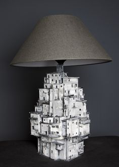 """""""Slums in the spotlight"""" Clay Houses, Ceramic Houses, Kids Bed Design, Diy Lampe, Pottery Houses, Cardboard Sculpture, Tulips In Vase, Sculptures Céramiques, Handmade Lamps"""