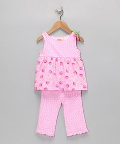 Take a look at this Pink Cherry Babydoll Top & Capri Pants - Infant, Toddler & Girls by Sweet Potatoes & S.P.UDZ on #zulily today!