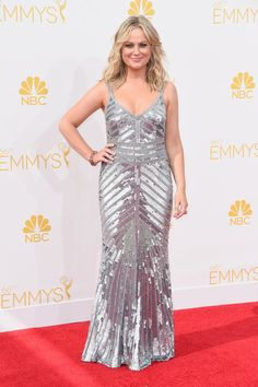 Pin for Later: See Every Dress to Hit the Emmy Awards Red Carpet Amy Poehler Was that Beyoncé? No, it was Amy Poehler in a fittingly glam silver Theia dress.