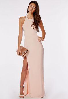 Slinky Side Split Maxi Dress Nude - Dresses - Maxi Dresses - Missguided