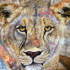 Lioness textile embroidered art