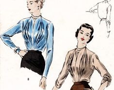 1950s 50s vintage sewing pattern evening cocktail blouse square front gathers vertical pleats Bust 34 B34 reproduction