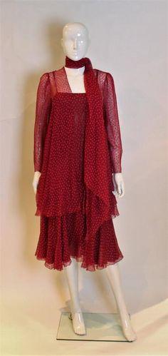 Christian Dior Paris Evening Dress, Jacket and Scarf 1970
