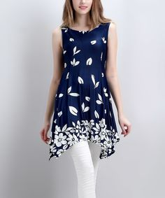 Loving this Reborn Collection Navy Falling Petal Sleeveless Handkerchief Tunic - Women on #zulily! #zulilyfinds
