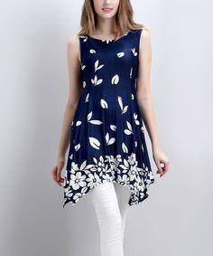 Loving this Reborn Collection Navy Falling Petal Sleeveless Handkerchief Tunic - Women on #zulily! #zulilyfinds