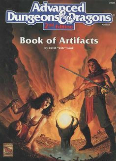 Book of Artifacts (2e) | Book cover and interior art for Advanced Dungeons and Dragons 2.0 - Advanced Dungeons & Dragons, D&D, DND, AD&D, ADND, 2nd Edition, 2nd Ed., 2.0, 2E, OSRIC, OSR, d20, fantasy, Roleplaying Game, Role Playing Game, RPG, Wizards of the Coast, WotC, TSR Inc. | Create your own roleplaying game books w/ RPG Bard: www.rpgbard.com | Not Trusty Sword art: click artwork for source