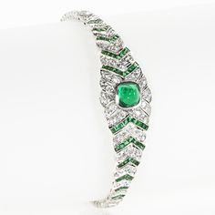 Edwardian Platinum, Diamond and Emerald Bracelet. Available exclusively at Macklowe Gallery.