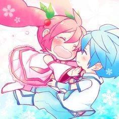 Sakura Miku and Snow Mikuo