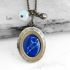 """Personalized Birthday Gift - Handmade Resin """"Leo"""" Constellation Sign Antique Bronze Oval Picture Locket Pendant Necklace"""
