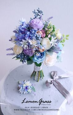 Purple Wedding Flowers Beautifully soft blue, lavender and white floral bouquet White Wedding Bouquets, Wedding Flower Arrangements, Flower Bouquet Wedding, Floral Arrangements, Bridal Bouquets, Boquette Wedding, Floral Wedding, Wedding Blue, Wedding Lavender