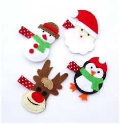 Christmas felt hair clips.