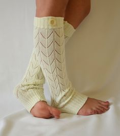 Machine knit ivory leg warmers with button cozy leg warmers boot socks.