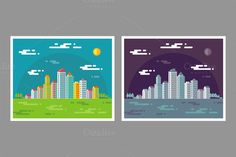 Check out Cityscape Buildings Illustrations by serkorkin on Creative Market